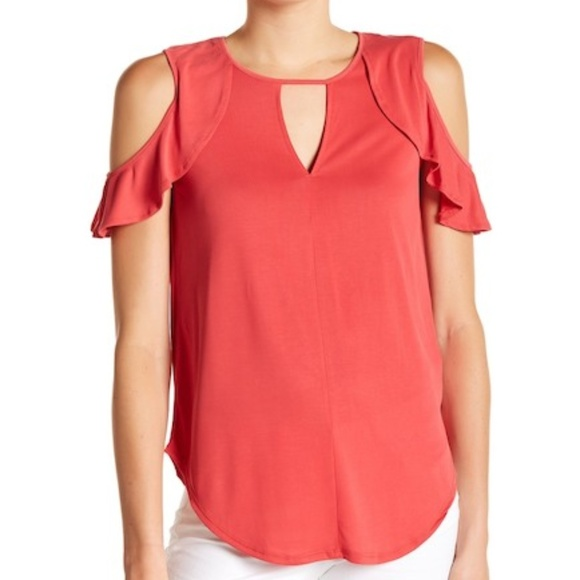 467dc229777 Jessica Simpson Tops | Cold Shoulder Top Ruffle Trim 1x | Poshmark